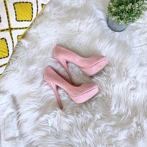 Charlotte Russe Pale Pink Platform Heels | Size 7